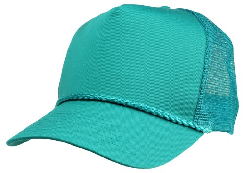 Blank Hat Cotton Twill Mesh Cap (With Braid) in Teal Trucker Hat - Mesh Back Cap Blank