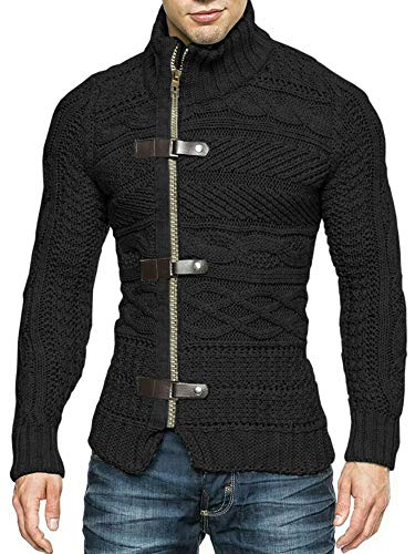 Karlywindow Men's Cable Knitted Oplique Zip Button Front Long Sleeve Cardigan Sweater (Large, Black)