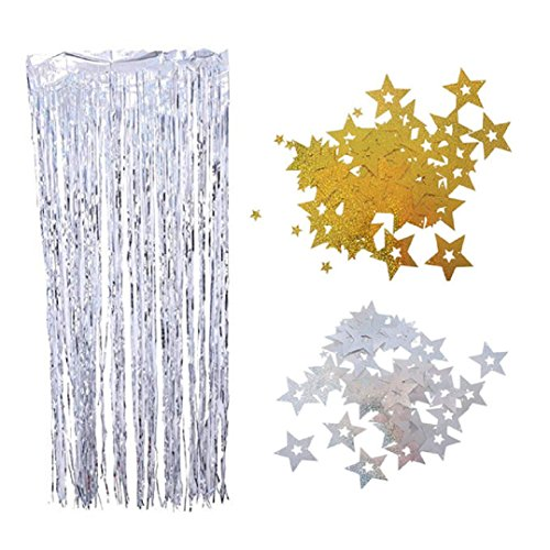 200pcs Silver Gold Glitter Star Hanging Swirls Decorations for Balloon Ceiling, Party Christmas Wedding Birthday Baby Shower Photo Booth Props Decor Supplies