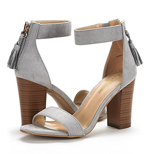 DREAM PAIRS Womens Open Toe Mid Chunky Heel Pump Sandals Grey mVZ3pm