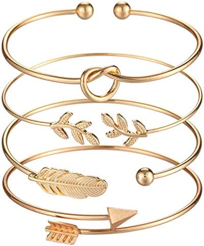 Starain 4Pcs Rose Gold Bracelets for Women Girl Simple Leaf Arrow Feather Knot Heart Bangle Bracelet Adjustable Cuff Bracelet Set