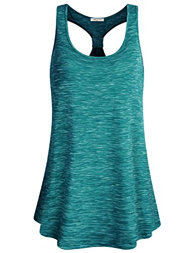 SeSe Code Loose Tank Top for Women, Ladies Scoop Neck Racerback Flowy Hemline Elastic Fabric Lightweight Attire Classic Casual Ribbed Active Solid Color Summer Tank Tunic Green L