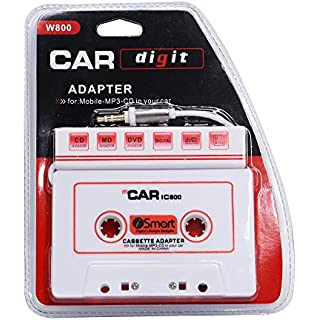 Sale houmi Car Cassette to Aux Adapter 3.5 mm Car Audio Cassette Adapter for Phones MP3 MP4 DVD Player White