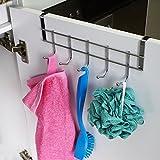 Ruiling 2 Pack Over Cabinet Door Hooks, Hanger 5 Hooks Organizer Rack - Wardrobe Hanger - Kitchen Cabinet Hook,Chrome Finish