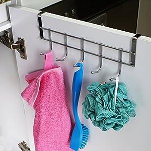 Amazon.com: Ruiling 2 Pack Over Cabinet Door Hooks, Hanger 5 Hooks ...