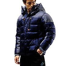 FUERZA Mens Winter Down Wellon Hooded Heavy Duty Parka Jacket - Dark Navy