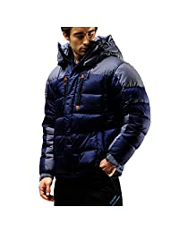 FUERZA Mens Winter Down Wellon Hooded Heavy Duty Parka Jacket - Dark Navy