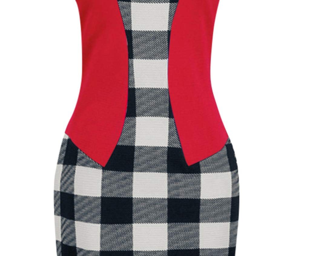 Birdfly Office Womens Plaid Patchwork Pencil Skirts Formal Working Dress with Three Quarter Sleeve Plus Size 2L 3L Red Shortsleeve,M /… 93
