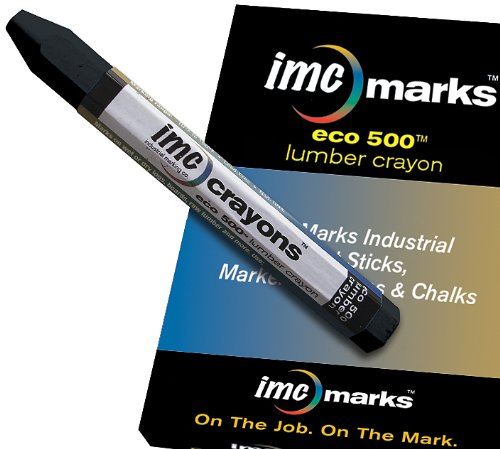 IMC Marks Heavy Duty Lead-Free Non-Toxic Hex Shape Eco Lumber 500 Crayon, Black (Pack of 12)