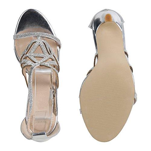 Stiefelparadies Damen Sandaletten High Heels Strass Cut-Outs Stilettos Party Schuh Flandell Silber