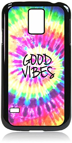 Good Vibes-Quality Sturdy Dual Protective Black Plastic Phone Case with Black Tough Inner Rubber Lining Compatible with the Samsung Galaxy s5 i9600 (S5 Dye Galaxy Case Tie)