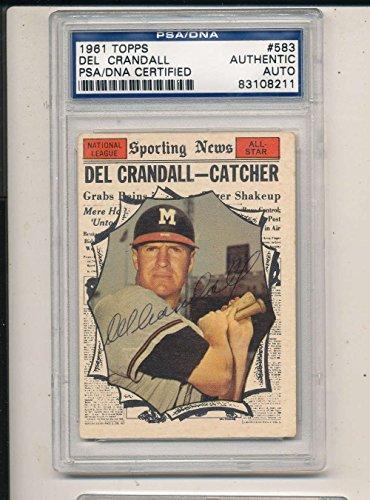 1961 topps card Signed #583 Del Crandall all star SGC/JSA ex -
