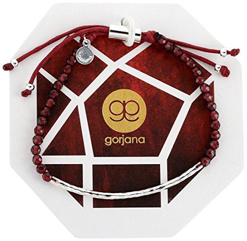gorjana Garnet Silver Power Gemstone Adjustable Strand (Garnet Set Bracelet)
