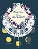 """Monthly Planner Academic 2019-2020: Blue Floral and Moon, 24 Months, Two year Calendar Planner, Daily Weekly Monthly Planner, Organizer,Agenda, 482 pages Large 8.5"""" x"""