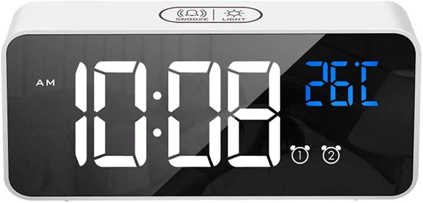 LED numérique USB réveil miroir table horloge rechargeable voyage  2 alarmes