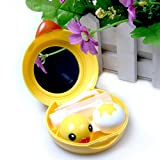 Handy Contact Lenses Case Mirror Container Travel Kit Lovely Yellow Duck Design