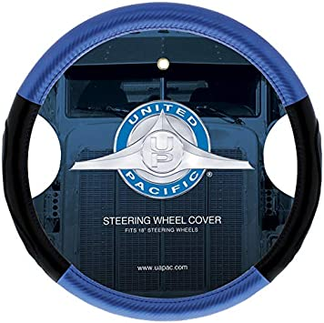 "United Pacific 70408 18/"" Carbon Fiber Style Steering Wheel Cover-Blue"