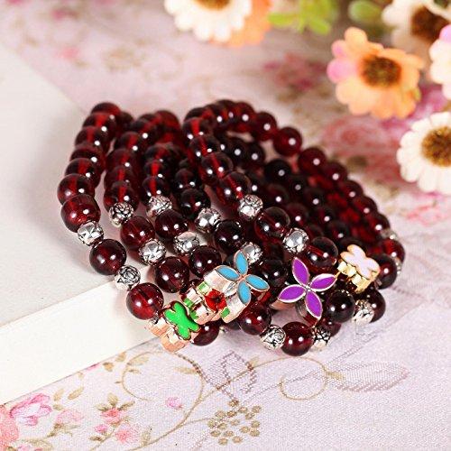 The new four-leaf clover charm bracelet Garnet Bracelet imitation Taobao explosion models genuine popular new bracelet (Garnet Charm Genuine)