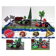 "Go-Kart Racing MARIO KART 12 Piece Birthday CAKE Topper Set Featuring Mario and Luigi, Themed Decorative Accessories, Figures Average 2"" Tall"