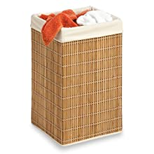 Honey-Can-Do Square Wicker Hamper, Natural Bamboo/Beige Canvas
