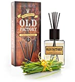 Old Factory Reed Diffuser Set - Lemongrass - Essential Oil Aromatherapy Scent Bottle and 6 Clog-Resistant Fiber Reeds - Premium Scented Diffusers for Oils - 5oz