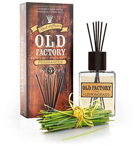 Lemongrass Room Diffuser - Old Factory Reed Diffuser Set - Lemongrass - Essential Oil Aromatherapy Scent Bottle and 6 Clog-Resistant Fiber Reeds - Premium Scented Diffusers for Oils - 5oz