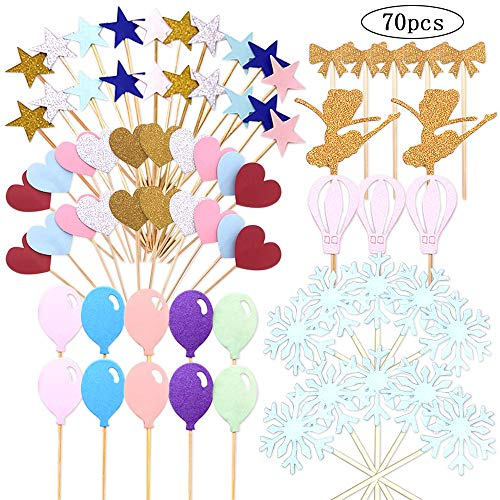 CKANDAY 70 Pcs Cupcake Toppers, Star Snowflake Love Little Balloon Bow-knot Little Girl Shape of Cake Decor Card for Engagement Anniversary Birthday Valentines Party Food Baby Shower Decoration