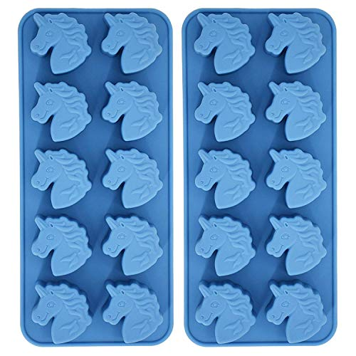 - Fewo 2-Pack Unicorn Head Silicone Tray Mold for Chocolate Hard Candy Ice Cube Jello Mini Soap Bath Bomb Cake Baking Resin Crayon