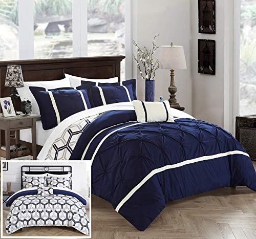 Chic Home Marcia 4 Piece Comforter Set Printed Pinch Pleated Ruffled and Reversible Geometric Design with Decorative Pillow and Sham, Full/Queen, Navy ()