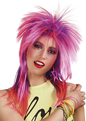 80s Punk Pink and Purple Rock Diva Wig -