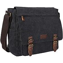 S-ZONE Vintage Canvas Messenger Bag School Shoulder Bag for 13.3-15inch Laptop Business Briefcase...