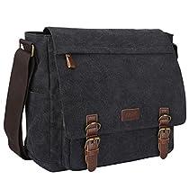 S-ZONE Vintage Canvas Messenger Bag School Shoulder Bag for 13.3-15inch Laptop Business Briefcase (Gray)