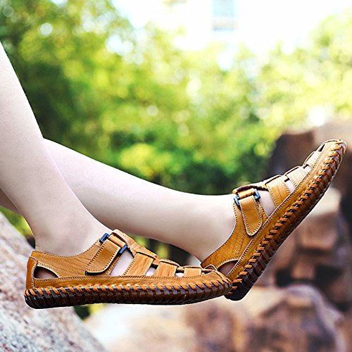 Uomo Per Leisure Da Fishing Sandali Summer Yellow Sneakers Mountaineering Toe Real Leather Outdoor 46nqf