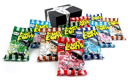 Eiffel Bon Bons Chewy Candy 5-Flavor Variety: Two 4 oz Bags Each of Apple, Strawberry, Blue Raspberry, Cherry, and Caramel in a BlackTie Box (10 Items Total)