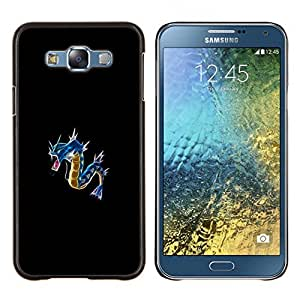 KLONGSHOP // Cubierta de piel con cierre a presión Shell trasero duro de goma Protección Caso - Azul P0kemon - Samsung Galaxy E7 E700 //
