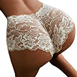 JFLYOU Slutty Lingerie High Waist Panties for Women Crotchless Knickers Negligee Underwear(White,L)