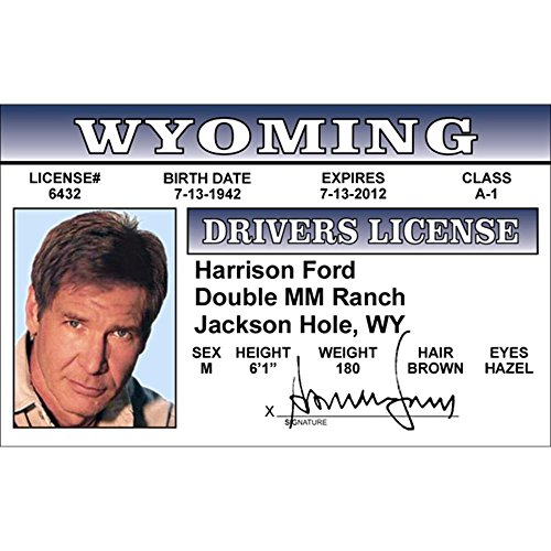 Signs 4 Fun Nhfid Harrison Ford's Driver's License