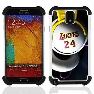 """SAMSUNG Galaxy Note 3 III / N9000 / N9005 - 3 en 1 impreso colorido de Altas Prestaciones PC Funda chaqueta Negro cubierta gel silicona suave (Laker 24 Basket"""")"""