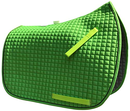 - Dressage Saddle Pad | Box-Quilted Cotton/Foam | PRI Pacific Rim (Apple Lime Green w/Black Piping)
