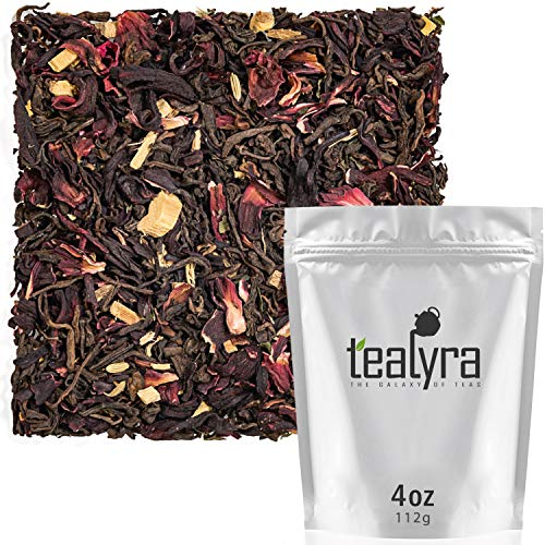 Tealyra - Flat Belly Pu'erh - Hibiscus - Peppermint - Fennel - Loose Leaf Tea Blend - Pu rh Diet and Slimming Tea - Best Weight Loss Tea - Caffeine Bold - All Natural Ingredients - 110g (4-ounce) ()