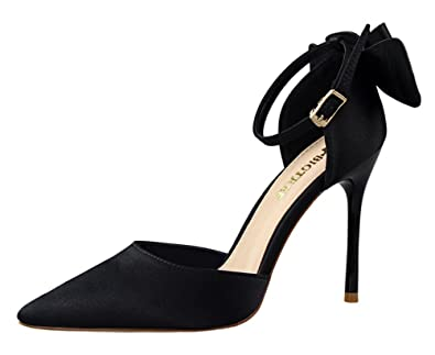 d04614f02f68 Passionow Women s Cute Ankle Strap Buckle Bow Pointed Toe Stiletto Heel  Satin Cut Out Pumps Sandals