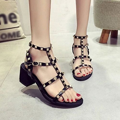 YOUJIA Womens Elegant Block Heel Sandals Ankle Strap Buckle Rivet Summer Shoes Gladiator Roman Sandals Black G62qKzj