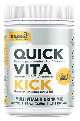 Nuzest Quick Vita Kick - Vitamin and Superfood Shake, Vegan, B12, Plant-based, Natural Energy Booster, Cacao Honey, 15 servings, 7.9 oz