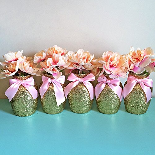 5-Gold-Glitter-Glass-Jardin-Vases-with-Soft-Pink-Bows-Wedding-Centerpieces-Baby-Shower-Centerpieces-Pink-and-Gold-Decorations-Girls-Birthday-Decorations