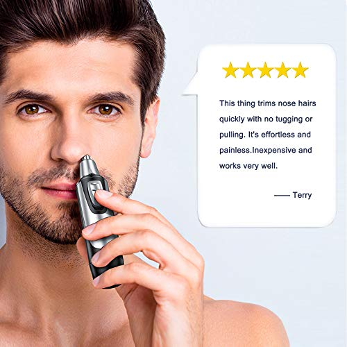 Nose Trimmer and Ear Hair Trimmer for Men and Women, Professional Painless Nose Hair Remover, Electric Waterproof Mens Nose Clippers with Rotary Stainless Steel Dual Edge Blades