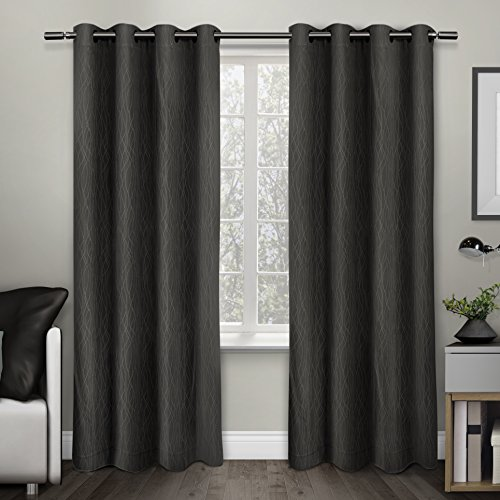 Exclusive Home Curtains Crete Textured Jacquard Thermal Grommet Top Window Curtain Panel Pair, C ...