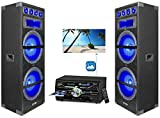 2) Technical Pro Dual 15'' 1800w LED Home Theater Speakers+DVD Receiver Amplifier