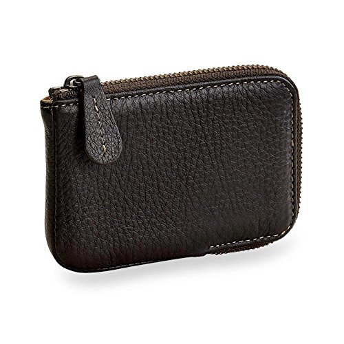 Levenger Bomber Jacket Zip Card Wallet with RFID - Business Card Case, Mocha (AL14495 MO NM) (My Bill Pay Amazon Card Store)