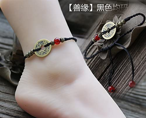 anklet adjustable many friends size POLPEP national retro hand-woven red string foot chain coins evil woman black fashion gift red