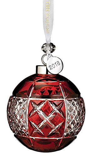 Red Cased Ball Ornament - Waterford Ruby Ball Ornament 3.3